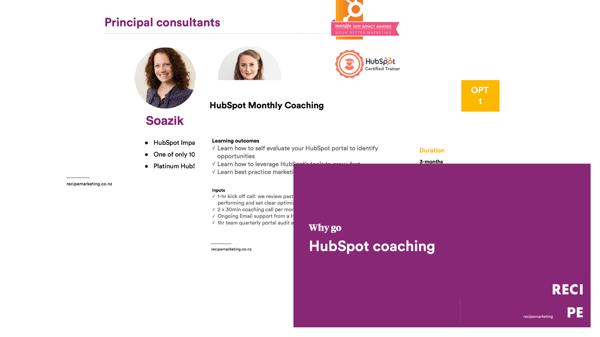 RECIPE marketing HubSpot Coaching Programmes